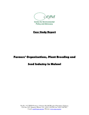 Case Study on Farmers Organizations, Plant Breeding and Seed Industry in Malawi