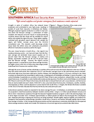 Southern Africa Food Security Alert