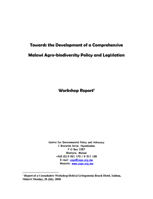 Towards the Development of a Comprehensive Malawi Agro-biodiversity Policy and Legislation