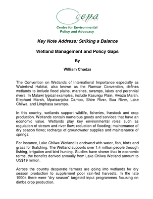 Wetlands Key Note Address