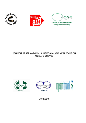 2011-2012 Draft National Budget Analysis on Climate Change