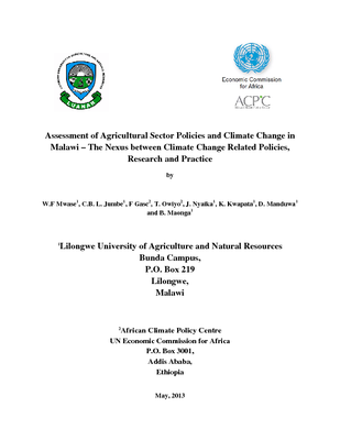Assessment of Agricultural Sector Policies and Climate Change in Malawi