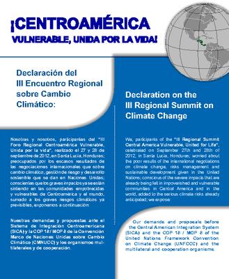 Declaration on the III Regional Summit on Climate Change