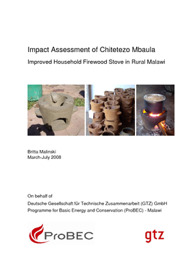 Impact Assessment of Chitetezo Mbaula - Improved Household Firewood Stove in Rural Malawi