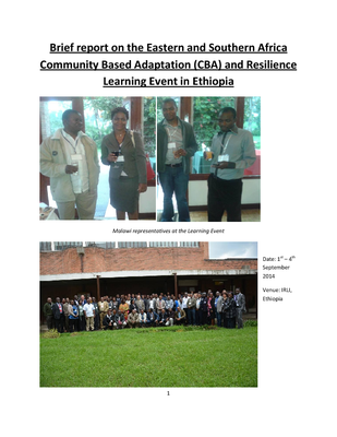 Report on the Eastern and Southern Africa Community Based Adaptation (CBA) and Resilience Learning Event in Ethiopia