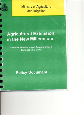 Agricultural Extension in the New Millennium- Towards Pluralistic and Demand Driven Services in Malawi 2000.pdf