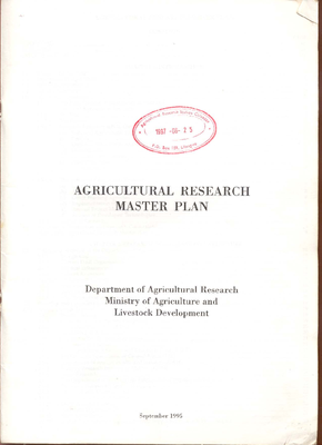 Agricultural Research Master Plan 1995