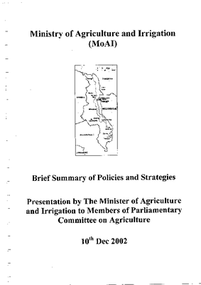 Brief Summary of Policies and Strategies in the Ministry of Agriculture and Irrigation 2002