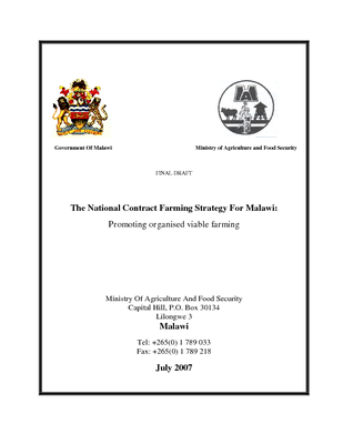 National Contract Farming Strategy 2007