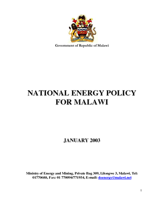 National Energy Policy for Malawi 2003