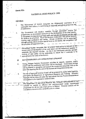 National Seed Policy 1993