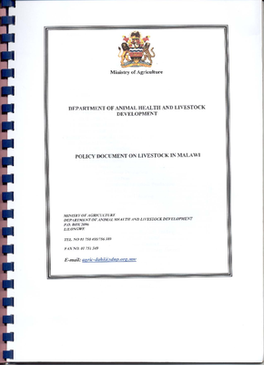 Policy Document on Livestock in Malawi 2004