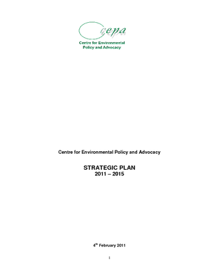 CEPA Strategic Plan 2011-2015