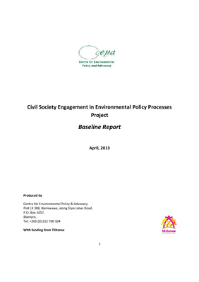 Civil Society Engagement in Environmental Policy Processes Project Baseline Report
