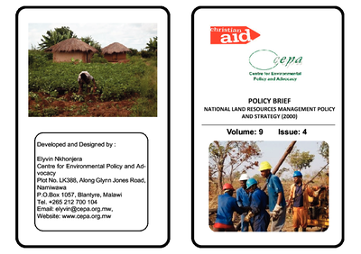Policy Brief on National Land Resources Management Policy and Strategy (2000)