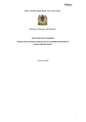 Tanzania Resettlement Policy Framework