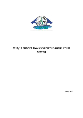 The 2012-2013 Budget Analysis for the Agriculture Sector