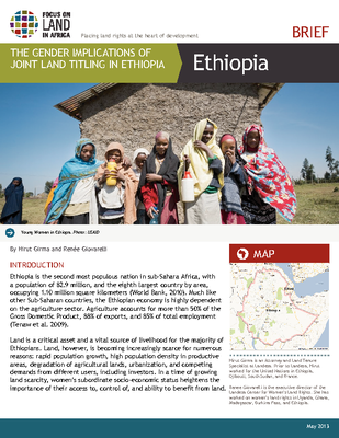 The  Gender Implications  of Joint  Land  Tilting  in Ethiopia